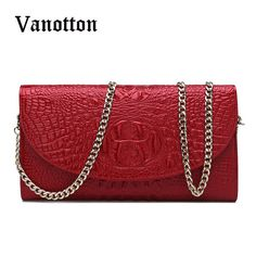 Brand Fashion Woman Messenger Clutch Bag Crocodile Pattern Ladies Totes  Luxury PU Leather Handbag Chain Shoulder bf8ad82806
