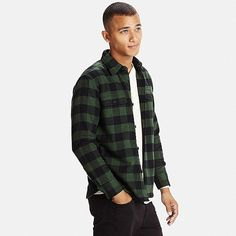 Heavy, long sleeve flannel in a casual, dark green, plaid pattern by Uniqlo