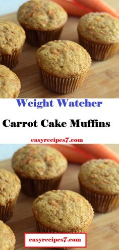 Carrot Cake Muffins - #WeightWatcher #Healthy #SkinnyRecipes #Recipes #Smartpoints #Cake #Muffins #LowCarb #WeigthWatchersRecipes #weightwatchersdesserts