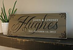 Our custom family wood signs are handmade and hand painted on a nice thick pine board. Personalized with your last name, first names and established date. This wood sign is made of high quality wood m Family Wood Signs, Wood Signs For Home, Family Name Signs, Custom Wooden Signs, Rustic Wood Signs, Diy Home Crafts, Wood Crafts, Pallet Crafts, Vinyl Crafts