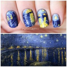 Nails inspired by a Van Gogh Painting - Starry Night over the Rhone