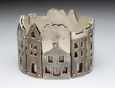 Neighborhood bracelet by Holly R Dobkin Metal Bracelets, Metal Jewelry, Jewelry Art, Silver Jewelry, Unique Jewelry, Jewelry Accessories, Handmade Jewelry, Precious Metal Clay, Contemporary Jewellery