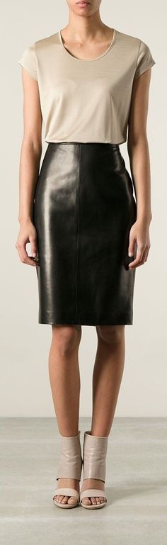 New Black Leather Pencil Skirt Seamless Lambskin Hits Knee Women ...
