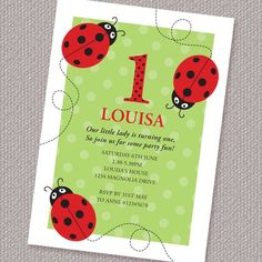 Little Ladybugs Birthday Party Invitation Printable by paperspice, $16.00. Cute graphics and very nice colour combo.