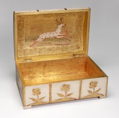 Small Chest by Charles Prendergast  ca. 1934 at Williams College Museum of Art. Charles typically acquired second boxes, chests, or furniture and decorated them with incised, painted and gilded gesso.