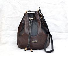 Vintage HCL Multi - Color Leather Drawstring Bucket Shoulder Bag Duffel Bag by mysunnystore. Explore more products on http://mysunnystore.etsy.com