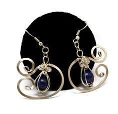 Wire Wrap Dangle Earrings with Lapis Lazuli stone by Hyppiechic, $32.00