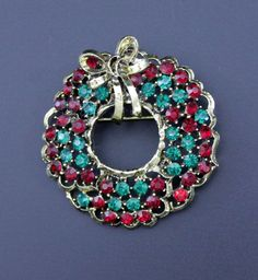 Vintage Weiss Christmas Wreath Brooch Multi Colored Rhinestones #Weiss