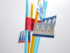 Circus Party Kit ~ Straw Flags Circus Party, Party Kit, Winter Wonderland, Flags, Prints, Flag, Printmaking
