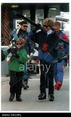 Princess Diana With Prince Harry In Lech Being Stock Photo