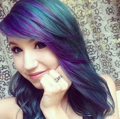 Purple and Teal hair. Kalel Cullen.