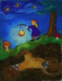Waldorf, Märchenwolle, Wollbild zum Spielen Blackboard Drawing, Chalkboard Drawings, Chalk Drawings, Chalkboard Art, Seasonal Celebration, Festival Celebration, Wet Felting, Needle Felting, Waldorf Crafts