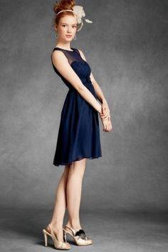 A-line Boat Neck Knee Length Pleats Bowknot Empire Bridesmaid Dress Navy Blue Cocktail Dress, Navy Dress, Blue Dresses, Pretty Dresses, Empire Bridesmaid Dresses, Knee Length Bridesmaid Dresses, Navy Bridesmaids, Dress Attire, Dress P