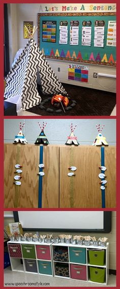 Camping Themed Decor Ideas & Bulletin Boards. See this room at speechroomstyle.com