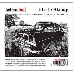 """Darkroom Door Cling Stamp 4.5""""x3"""" - Old Car"""