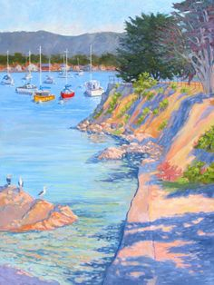 """Red and Yellow Boat"" painted looking toward Monterey Bay, by the Coast Guard Wharf.  Oil"