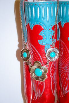 Custom Olathe cowboy boots with just a touch of turquoise.