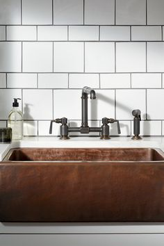Waterworks RW Atlas Two Hole Bridge Kitchen Faucet with Lever Handles and Spray in Brushed Nickel Luxury Kitchens, Kitchen Backsplash, Waterworks Kitchen, Metallic Backsplash, Kitchen Sink Faucets, Diy Kitchen Remodel, Kitchen Remodel, Kitchen Faucet, Kitchen Sink Remodel