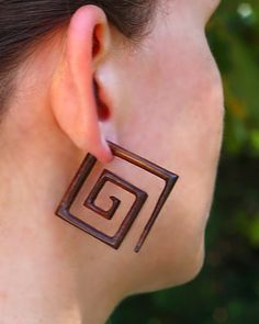 Fake Gauge Earrings - Large Square Spirals - Tropical Wood Carving. $21.00, via Etsy.