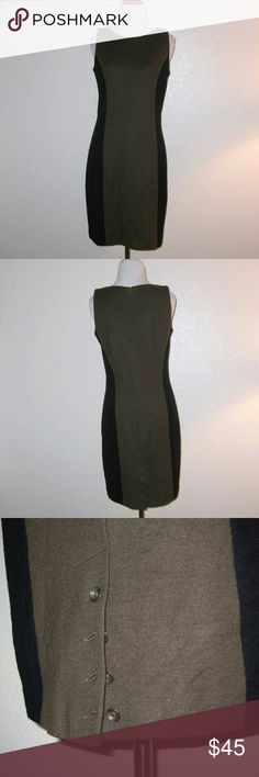 Rag & Bone Colorblock Wool Sheath Dress Brown and black colorblock wool sheath dress Hidden zipper at back Button details at the back of the hem create a slit 100% Wool Dry clean only Made in USA Measurements: Bust: 35? Waist: 30? Hips: 36? Overall Length: 36?  Condition: Dress is clean and shows minimal wear; no stains, pulls, or pilling. Tiny amount of moth damage just below the top of the back, as shown in picture. Damage does not go all the way through the dress. rag & bone Dresses