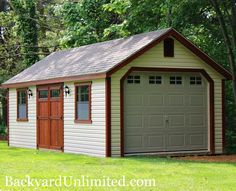 12'x24 Garden Shed Garage with Vinyl Siding, Transom Windows in Doors and Gable Vent http://www.backyardunlimited.com/shed-gallery/garages