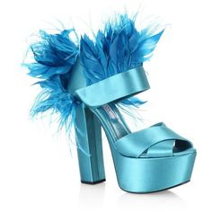 Prada FeatherTrim Satin Platform Sandals (€840) ❤ liked on Polyvore featuring shoes, sandals, blue, high heels, blue shoes, vintage platform sandals, vintage sandals, block heel platform sandals and vintage shoes