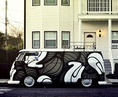 VW Campervan - black and white, and just a bit different.