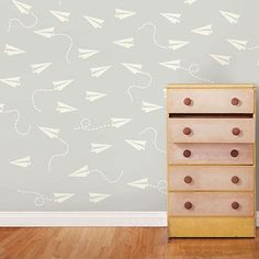 Wall Pops Cream Paper Airplane Minipop Wall Decals - Wall Sticker Outlet