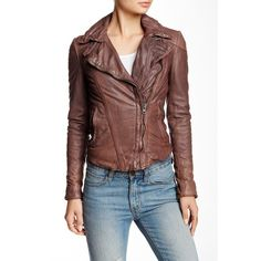 Muubaa Patara Leather Biker Jacket ($200) ❤ liked on Polyvore featuring outerwear, jackets, blush, leather jacket, brown moto jacket, buckle jackets, 100 leather jacket and motorcycle jacket