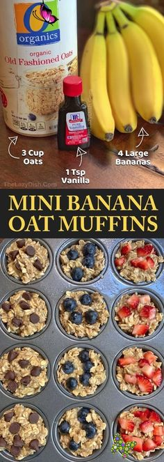 Healthy Banana Oat Muffins (3 Ingredients) - The Lazy Dish -  Looking for easy healthy snacks for kids to make? These on the go banana oat muffins are perfect fo - #banana #BreakfastRecipes #BrunchRecipes #dish #healthy #HealthyBreakfasts #ingredients #Lazy #muffins #oat<br> Oat Muffins Healthy, Breakfast Healthy, Healthy Breakfast Pregnancy, Healthy Toddler Muffins, Easy Toddler Snacks, Healthy Breakfast Recipes For Weight Loss, Fun Snacks For Kids, Snacks For Work, Perfect Breakfast