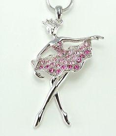 Ballerina W Swarovski Crystal Charm Chain New Pendant Pink Necklace Jewelry Gift - http://elegant.designerjewelrygalleria.com/swarovski/ballerina-w-swarovski-crystal-charm-chain-new-pendant-pink-necklace-jewelry-gift/