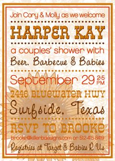Beer Barbecue & Babies : A couples baby shower invitation design with a poster style sunflower theme