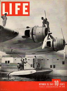 1941 Pan Am Airlines Trippe's Clipper Plane Original Life Magazine Cover