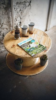 Reclaimed Wood Cable Drum Rope Edge Coffee Table by ReviveJoinery