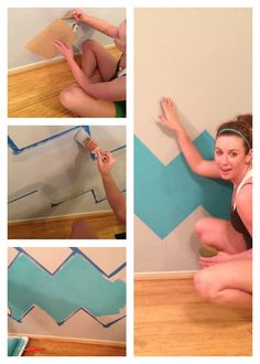 Painting a chevron wall with a perfect square piece of wood. No measuring!