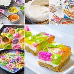 DIY No Bake Rainbow Cheesecake Bars