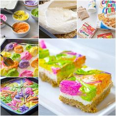 DIY No Bake Rainbow Cheesecake Bars