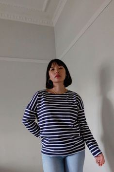 Minquiers Drop Breton Striped Top Breton Top, Saint James, Blue And White, Navy Blue, High Rise Jeans, Size Model, Turtle Neck, Sweaters, How To Wear