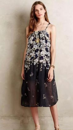 NEW ANTHROPOLOGIE $148 Verano Dress Lilka Navy Womens Rayon Gauze LaLangston NWT #LilkaAnthropologie #Sundress #Casual