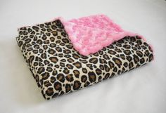 Leopard Minky Baby Blanket with Hot Pink Minky Swirl