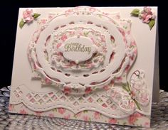 Butterfly and Roses by jasonw1 - Cards and Paper Crafts at Splitcoaststampers.  Uses label nine and opulent ovals dies