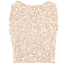 Hazel Top by Lace & Beads (€68) ❤ liked on Polyvore featuring tops, nude, crop tops, pink lace top, zipper top, going out crop tops and lace beaded top