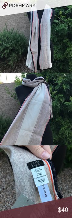 J Crew Scarf  BRAND NEW WITH TAGS. J Crew Scarf. Made of 70% Wool so it will keep you warm ☀️ made in italy  it is A cream color with a border of orange and blue.  They are currently sold out online (refer to last pics) and you can buy from me at discount.....Open to reasonable offers, bundle to save ❤️ J. Crew Accessories Scarves & Wraps