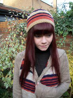 Boho Stripe Beanie, Hand Knitted, £14.99