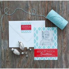 Diamond Ikat Printable Holiday Photo Card - Aqua and Red