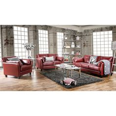 Furniture of America Pierson Double Stitched Leatherette 3-piece Furniture Set