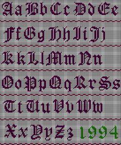 Old English AlphabetStitch Chart