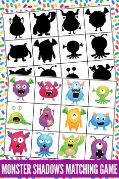 Develop visual discrimination skills essential to reading, writing and math with this fun, monster matching game! Perfect for preschool & kindergarten. Monster Activities, Preschool Activities, Preschool Kindergarten, Monster Games For Kids, Memory Games For Kids, Games For Toddlers, Games For Preschoolers, Reading Games For Kids, Educational Games For Kids