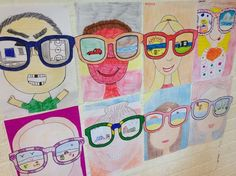 Face and neck filling page. Large sun glasses with each student deciding on a reflection in glasses. Spring Art, Summer Art, School Art Projects, Art School, Painting For Kids, Art For Kids, Doodle Drawing, 2nd Grade Art, Ecole Art