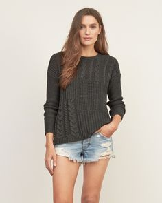 Womens Patchwork Cable Sweater | Womens New Arrivals | Abercrombie.com